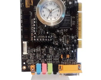 """Geek Alarm Clock from Recycled """"Sound Blaster"""" Circuit Board. Got Geek Award, Unique Gift, Musician Friend, Rocker Clock, Gifts for Him?"""