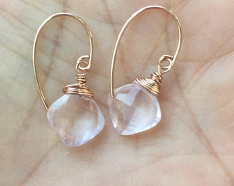 Rose Quartz, Rose Gold, Dangle Earrings, Rose Quartz Earrings, Pink Earrings, Pink Drop Earrings, Natures SplendourJewelry