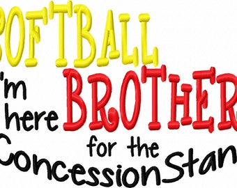 Softball Brother Machine Embroidery Design Instant Download 7x5 10x6 Girl Boy Shirt Bib Gown Baby Shower Sports Tshirt tee gift sibling twin