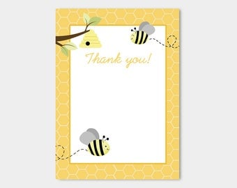 Gray Bumble Bees Flat Card Thank you Note INSTANT DOWNLOAD bs-157