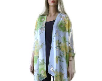 Kimono cardigan -Pastel floral-Yellow, Green,and white -oversize chiffon kimono- summer collection
