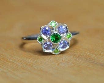White Gold Ring, Sapphire Ring, Tsavorite Ring, 14 Kt Gold Ring, Demantoid Garnet Sapphire Ring, Lily Ring, Flower Ring, Birthstone Ring