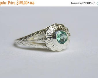 SALE Silver Ring, Engraved Ring, Empire Daisy Ring, Fluorite Ring, Green Gemstone Ring