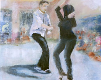 Wait - Connection: Swing Dance Paintings exploring human connection and communication through dance, Original Oil Painting on Canvas