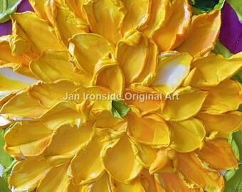Flower Painting , Oil Painting ,  yellow Dahlia , Impasto , Original Painting, yellow flowers