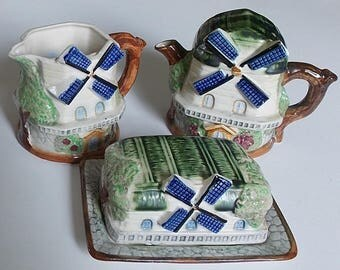 Vintage Tea Pot & Lid, Small Pitcher, Covered Butter Dish, 5 Piece Set, Occupied Japan, 1940s, Rare, Mid Century, Pottery, Windmill Motif
