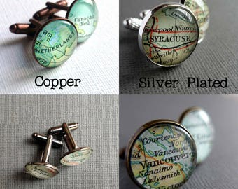 Cartography Gifts, Men's Cufflinks, Vintage Maps, Copper Personalized Cuff Links, Map Lover, Colourful Glass Cufflinks