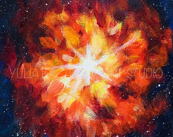 Supernova Explosion giclee art print of original acrylic painting Outer space art Astronomy art print Star explosion print