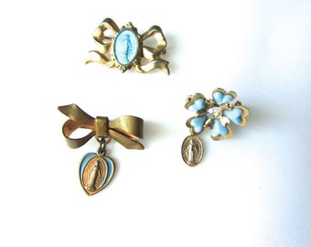 Blue Enamel Religious Medal Lot Miraculous Medal Pins Bows Sacred Heart Medals Dymphna Gold Tone 3pc Ribbons Flower
