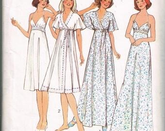 70s Negligee and Nightdress Pattern Style 1960 Bust 38 Sexy Nightgown Robe Loungewear Bridal Honeymoon Vintage 1976 Sewing Pattern