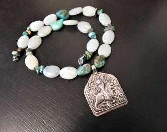 Vintage Sterling India Goddess Pendant, Repousse Goddess Durga Pendant,  Amazonite and Turquoise Necklace