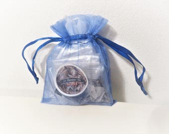 Blessing Kit, Two White Candles, Sage, Herbs, Blessing Oil, Crystal, Blue Organza Bag