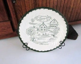 Countryside Spring Luncheon Plate by Royal China – Green & White Underglaze Print Vintage Dinnerware – Quaint Countryside Scene