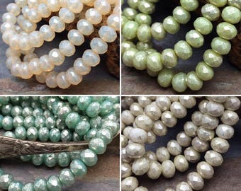 Your Color Choice Czech Glass Faceted 7x5mm Rondelles Beads, Choose, Opal Cream, Green Honeydew Mercury, Mint Julip Mercury, Ivory Mercury
