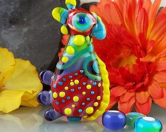 Crazy Chicken - Statement focal bead- Glass Art - Lampwork - by Michou P. Anderson