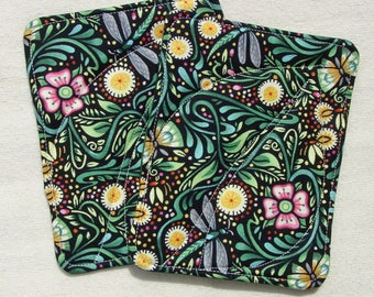 Two Pot Holders Hot Pads - Quilted - Dragonfly Garden - Insulated and Cotton Batting - Green Black - Art Deco Style