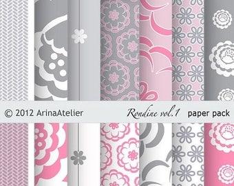 SALE - 30%OFF - Rondine vol.1 Modern Digital Patterned Digital Paper Pack