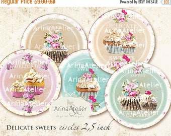 SALE 30%OFF - CIRCLES Delicate Sweets - 2,5inch circles - Cupcakes - Shabby chic Circles - Digital Collage CIrcles - pocket mirrors, tags, s