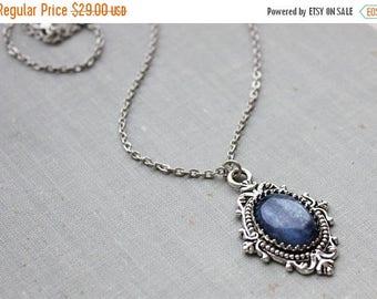 VACATION SALE- Blue Kyanite Necklace. Gemstone Necklace. Antique Silver or Antique Bronze