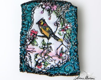 Awesome Mini Art Textile Art Pin - Bird in Cherry Tree Art Broche