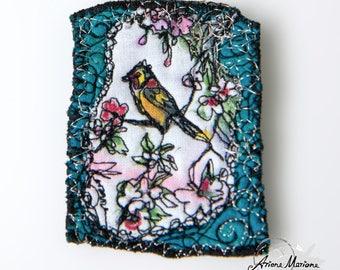 Awesome Mini Art Textile Art Pin - Bird in Cherry Tree Art Broche