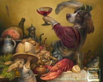 The Dog's Dinner (print) dog, rabbit, gourmet dining, foodie, feast, kitchen decor, spaniel