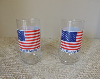 God Bless America Flag Glasses. Pair of Patriotic American Drinking Glasses. 4th July Water Glasses. Beach and Pool Party Glasses