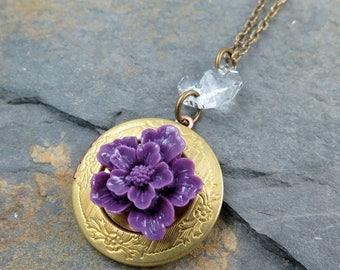 Purple Flower Locket Necklace Locket Pendant Vintage Locket Engraved Locket Round Locket Amethyst Flower Mothers Day