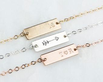 Hand Stamped Jewelry Friendship Bracelet, Name Jewelry, Custom Date Bracelet, Small Name Bracelet, Tiny Custom Initial Bracelet Bar Charm