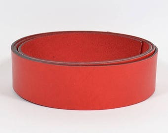 30mm Flat Leather - Red - L30F-8 - Choose Your Length