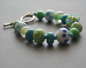 SALE Green Blue White Lampwork Bracelet - Glass Bead Bracelet