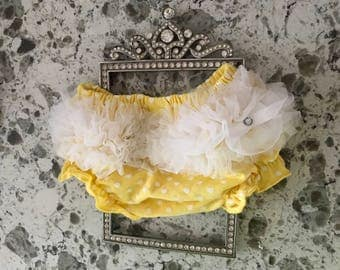 Yellow and White Polka Dot Baby Bloomers