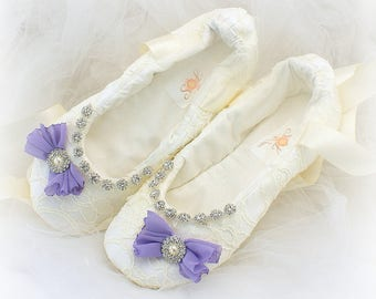 Ballet Slippers,Ivory,Lilac,Purple,Bows,Wedding Ballet Flats,Beaded Flats,Lace Flats,Wedding Shoes,Flats with Crystals,Wedding Reception
