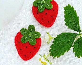 Felt Red Strawberry Baby Snap Hair Clip - Baby Hair Clip