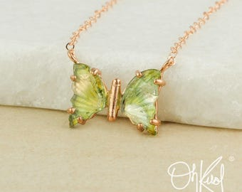 Lime Green Tourmaline Butterfly Necklace - Butterfly Pendant - Summer Necklaces