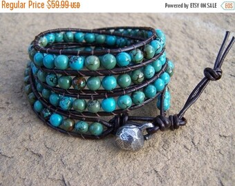 50% OFF SALE Cabo Turquoise Beaded Leather Wrap Bracelet