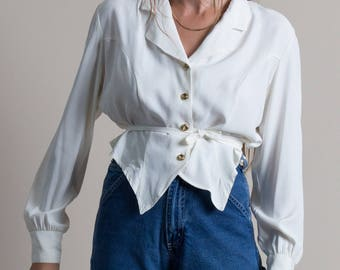 Vintage 90s White Button Up Cropped & Collared Blouse | M