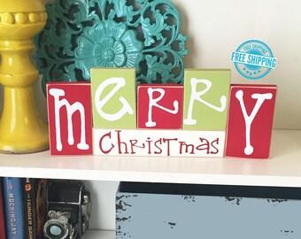 Merry Christmas Blocks- Christmas Decor, Christmas home decor Christmas Wood Decor Christmas Sign, Christmas Wood Sign, Wood Christmas Sign