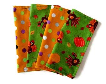 Kids Cloth Napkins, Kid Thanksgiving Napkins, Cotton Reversible Napkins, Set of 4, Double Sided Lunchbox Napkins, 2 Ply, Reusable, Washable