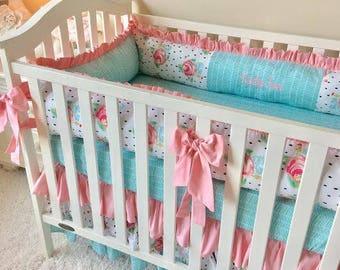 Girl Crib Bedding, Baby Girl Crib Sets, Floral Watercolor Pink and Aqua Baby Bedding, Pink Floral Crib Sets, Black and White Crib Bedding