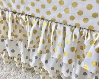 Gold Dot Crib Skirt, Grey Dot Crib Skirt, White Dot Crib Skirt, Gold Ruffled Crib Skirt, Grey Ruffled Crib Skirt