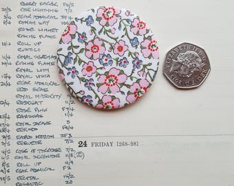 Handmade Liberty London Tana   Lawn Fabric Brooch - Pinback Button - Liberty Fabric Lapel Pin - Classic Style - Simple Chic Accessory