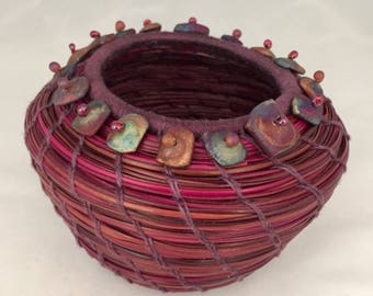 Embellished Red and Purple Pine Needle Basket by Marcie Stone