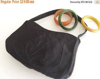 40% OFF Christmas in July Pretty 1940's Corded Hand Bag in Chocolate Brown True Vintage