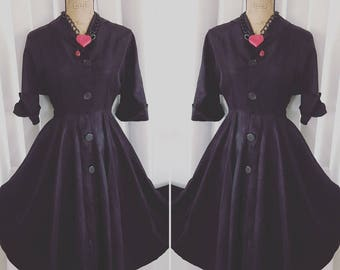 Vintage 1950's Black Acetate New Look Fit and Flare Dress -- Size M