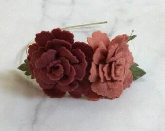Mauve Rose Flower Hair Accessory//Adjustable Metal or Elastic Band//Women and Girls//Romantic Bridesmaid Wedding Hair Piece//Customizable