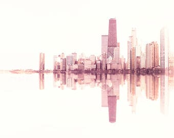 Chicago Skyline, Pink Wall Art, Urban Art Print, Artwork for Walls - soundwave prints, minimalist decor, Chicago cityscape, abstract photo