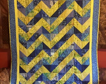 "Scrap Blue and Green Zig Zag Quilt 53"" x 66"""