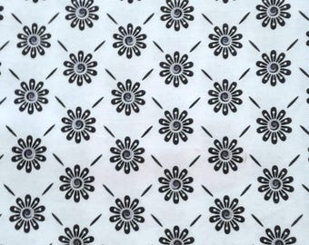 Black and White Floral Fabric - Night and Day and Ink Blossoms Two - 1 Yd of Ea./2 Yards Total                                     02-2017