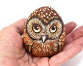 Brown Owl, hand painted on stone (A)